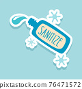 Sanitize. Corona virus sticker. Doodle Covid-19 prevention badge. Bottle with antiseptic for disinfection of hands and surfaces, hygienic wash. Vector dangerous infection prevention 76471572