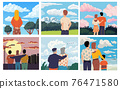 People looking forward. Men and women admiring scenery. Old or young characters spend time outdoor. Scenic landscape and cityscape. Vector persons from behind watching natural view 76471580
