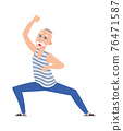 Happy older dancing man. Cartoon senior age person. Gray-haired male character doing sport exercises. Smiling grandfather performing chariographic motion. Vector grandpa at disco party 76471587