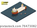 Vector isometric heavy lift vessel or ship 76473082
