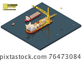 Vector isometric pipe laying vessel, pipe lay ship 76473084