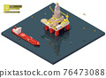 Vector isometric offshore drilling rig and tanker ship 76473088