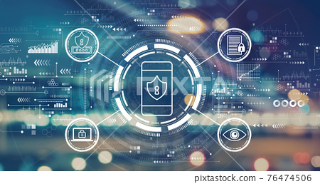 Data Privacy concept with blurred city lights 76474506