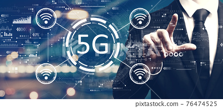 5G network with a man on city background 76474525