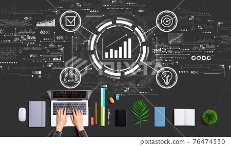 Marketing concept with person using a laptop 76474530