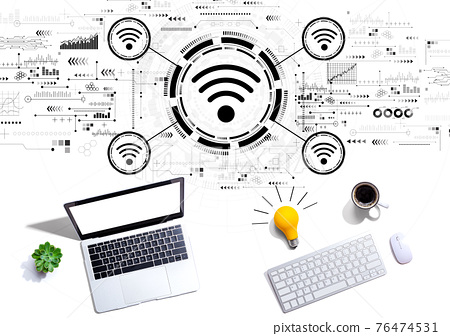 Wifi theme with computers with a light bulb 76474531