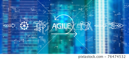 Agile concept with downtown skyline 76474532