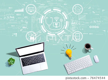 Telemedicine theme with computers with a light bulb 76474544
