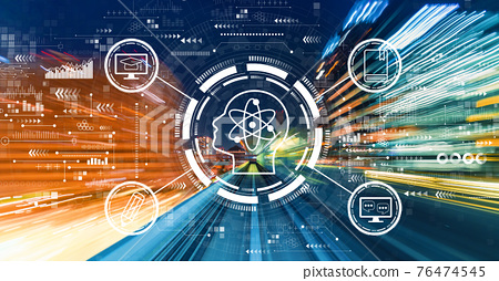 Online education concept with high speed motion blur 76474545