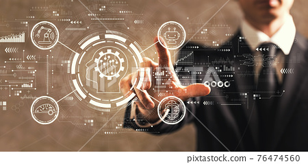 Future technology concept with businessman 76474560