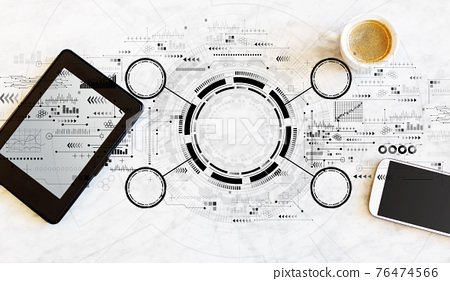 Tech circle with tablet and phone 76474566