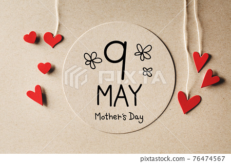 9 May Mothers Day message with small hearts 76474567