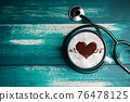 World Health Day. Health Care for Coffee Lover and Heart Disease Concept. Latte Art by Cinnamon on Top as Heart Shape and Pulse Beat Rate. Hot Coffee Cup Lay on Table inside Stethoscope. Top View 76478125