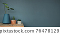 Green Plant in Vase and Pot on table against the Grey Wall. Decorative a House by Nature, Clean and Minimalist Style 76478129