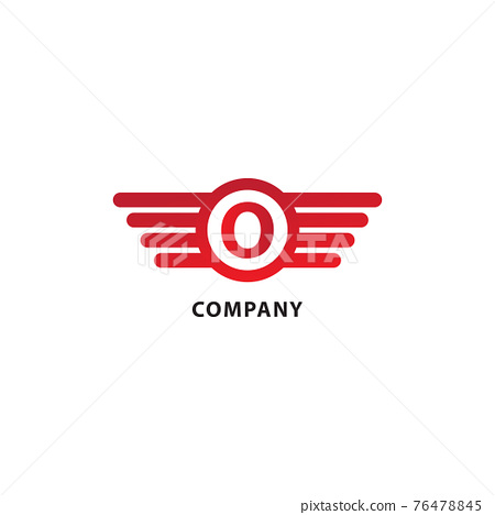 Letter O Initial Abjad Logo Design Template. Rounded Wings, Ellipse Shape and Alphabet Logo Concept. Isolated On White Background. Red Color Theme. 76478845