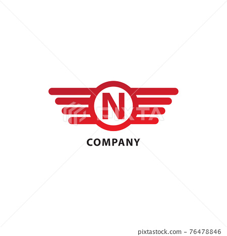 Letter N Initial Abjad Logo Design Template. Isolated On White Background. Rounded Wings, Ellipse Shape and Alphabet Logo Concept. Red Color Theme. 76478846