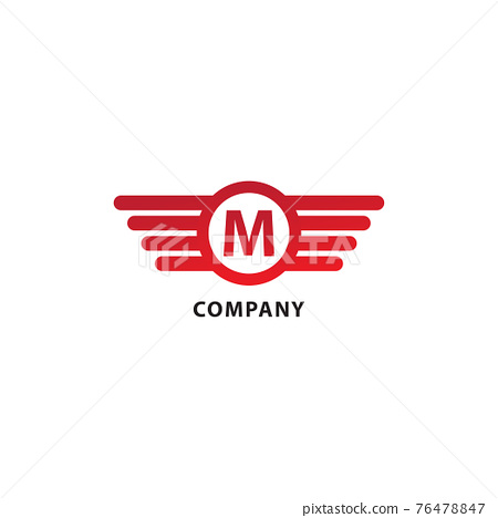 Rounded Wings, Ellipse Shape and Alphabet Logo Concept. Letter M Initial Abjad Logo Design Template. Isolated On White Background. Red Color Theme. 76478847