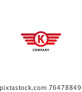 Letter K Initial Abjad Logo Design Template. Isolated On White Background. Rounded Wings, Ellipse Shape and Alphabet Logo Concept. Red Color Theme. 76478849