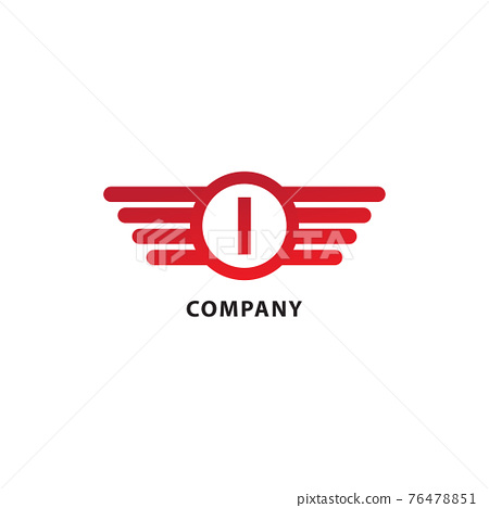 Letter I Initial Abjad Logo Design Template. Isolated On White Background. Rounded Wings, Ellipse Shape and Alphabet Logo Concept. Red Color Theme 76478851
