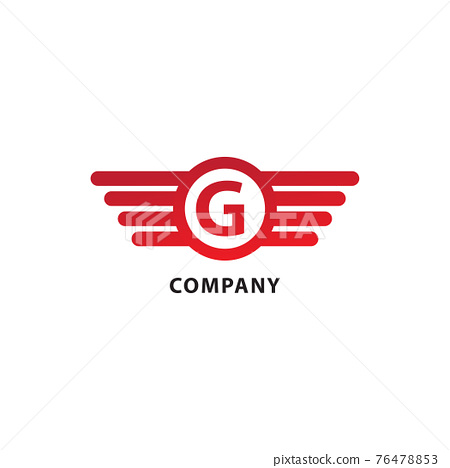 Rounded Wings, Ellipse Shape and Alphabet Logo Concept. Letter G Initial Abjad Logo Design Template. Isolated On White Background. Red Color Theme 76478853