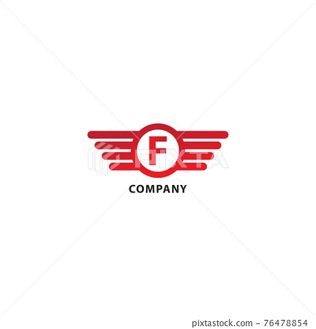 Letter F Initial Abjad Logo Design Template Isolated On White Background. Rounded Wings, Ellipse Shape and Alphabet Logo Concept. Red Color Theme 76478854