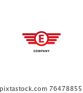 Letter E Initial Abjad Logo Design Template. Rounded Wings, Ellipse Shape and Alphabet Logo Concept. Isolated On White Background. Red Color Theme 76478855