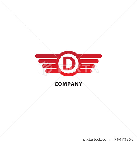 Rounded Wings, Ellipse Shape and Alphabet Logo Concept. Isolated On White Background. Letter D Initial Abjad Logo Design Template. Red Color Theme 76478856