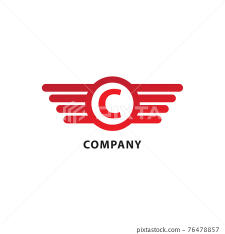 Rounded Wings, Ellipse Shape and Alphabet Logo Concept. Letter C Initial Abjad Logo Design Template. Isolated On White Background. Red Color Theme 76478857