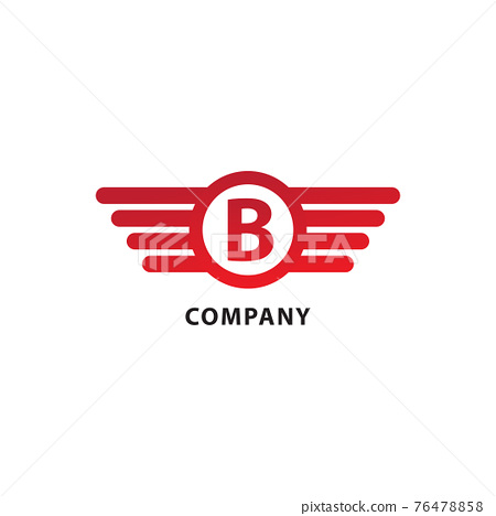 Letter B Initial Abjad Logo Design Template. Isolated On White Background. Rounded Wings, Ellipse Shape and Alphabet Logo Concept. Red Color Theme 76478858