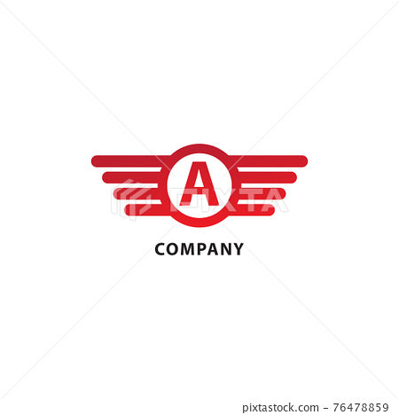 Letter A Initial Abjad Logo Design Template. Rounded Wings, Ellipse Shape and Alphabet Logo Concept. Isolated On White Background. Red Color Theme 76478859