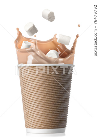 ribbed paper cup of cocoa with marshmallows 76479792