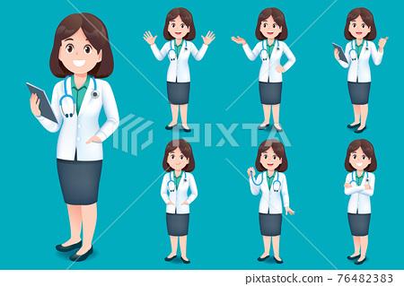 Asian doctor young woman short hair. 76482383