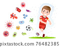 European boy play football to good healthy. 76482385
