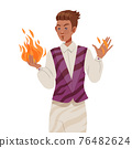 Man Psychic and Stage Magician Performing Trick Holding Flame with Bare Hands Vector Illustration 76482624