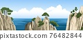 Chinese rocks with a trees on top. Ocean landscape, seascape with mountains in water and fluffy clouds in blue sky. 76482844