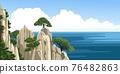 Beautiful summer seascape view with rocks, trees, blue sky, fluffy clouds, sea foam. 76482863