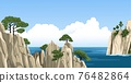 Panoramic vector illustration of sea with rocks, mountains, trees, fluffy clouds. 76482864