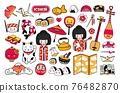 Big set of kawaii japanese cartoon stickers. Kokeshi doll, maneki-neko, sushi, geisha, fuji, origami, manga. 76482870