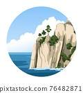 Sea rock. Simple round vector illustration with sea view. 76482871