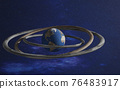 Fantastic blue Earth planet with rock torus rings 76483917