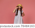 cute little child girl in summer dress, hat and sunglasses 76484163