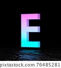 Cyan magenta font Letter E 3D 76485281