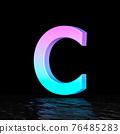 Cyan magenta font Letter C 3D 76485283