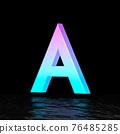 Cyan magenta font Letter A 3D 76485285