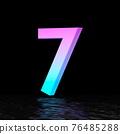 Cyan magenta font Number 7 SEVEN 3D 76485288