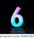 Cyan magenta font Number 6 SIX 3D 76485289