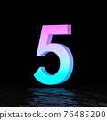 Cyan magenta font Number 5 FIVE 3D 76485290