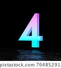 Cyan magenta font Number 4 FOUR 3D 76485291