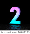 Cyan magenta font Number 2 TWO 3D 76485293