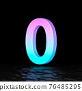 Cyan magenta font Number 0 ZERO 3D 76485295